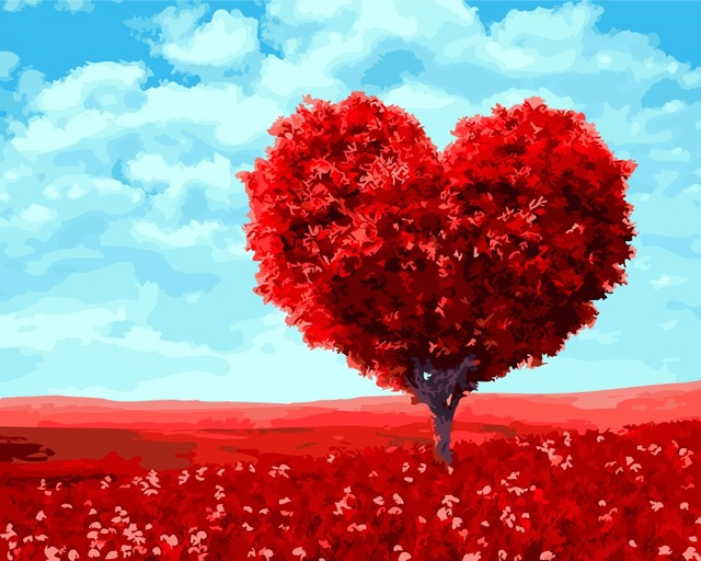 Frameless-Red-Love-Tree-DIY-Oil-Painting-By-Numbers-Hand-Dra